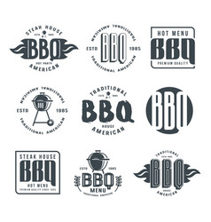Set of barbecue labels and emblems vector