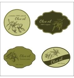 Set of stickers for olive production vector image