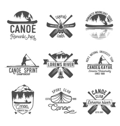 Set of vintage canoeing logo vector image
