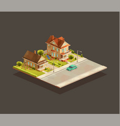 set suburbian family houses vector image