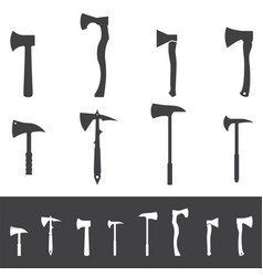 set various axe silhouettes hatchet icons vector image