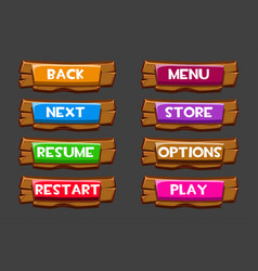 set wooden buttons with inscriptions vector image
