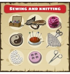 Sewing and knitting set vector image