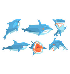 Shark in different poses set ocean scary animal vector
