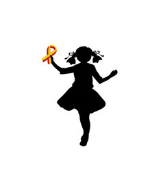 Silhouette girl with yellow red ribbon world vector
