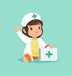 smiling toddler girl holding medical suitcase and vector image