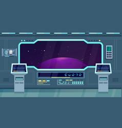 Spacecraft shuttle or ship interior flat vector