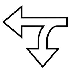 Split Direction Left Down Outline Icon vector image