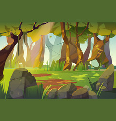 Summer landscape forest glade with green grass vector