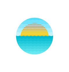 Sunrise at the sea logo vector image