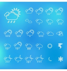 Trendy Thin Weather Icon Set vector