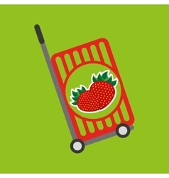 Trolley shop juicy strawberry fruit vector