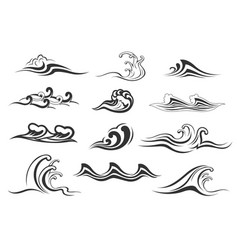 Water wave of sea or ocean icon for nature design vector