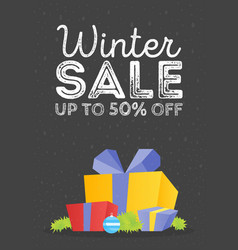 Winter sale poster design template or gift box vector