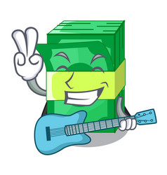 With guitar stacks money dollar on bank character vector
