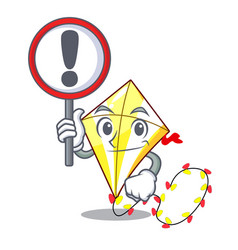 with sign kite cartoon fly away in sky vector image