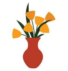 Yellow vase on white background vector