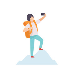 young man with backpack taking selfie photo vector image