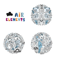 zodiac air elements set vector image