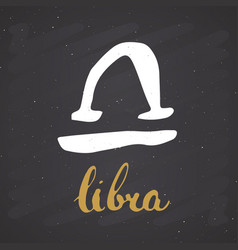 zodiac sign libra and lettering hand drawn vector image