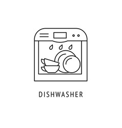dishwasher outline icon vector image