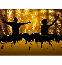 Female and male DJ party background vector image
