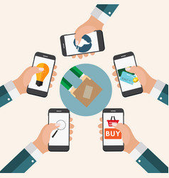 mobile apps concept online business shopping e vector image vector image