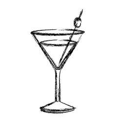 monochrome sketch silhouette of drink cocktail vector image vector image