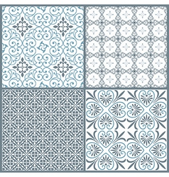 Set of four vintage decorative symmetric seamless vector image vector image