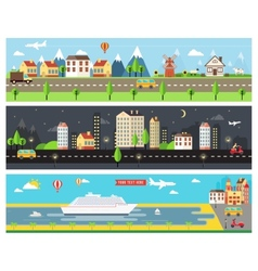 Beautiful City Landscape Banners vector image vector image