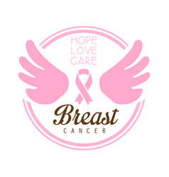 breast cancer hope love care label vector image