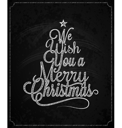 Christmas Tree Vintage Lettering Chalk Background vector image vector image
