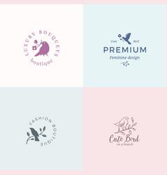 cute little bird signs or logo templates vector image vector image