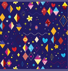 hearts stars flowers and diamond vector image vector image