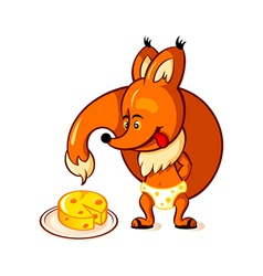 Little fox and big cheese vector image vector image