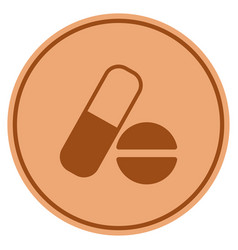 medication bronze coin vector image vector image