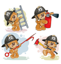 set of teddy bears firefighters cartoon characters vector image