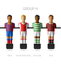 Table football foosball players Group H vector image vector image