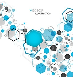 Abstract geometric blue hexagon background vector image vector image