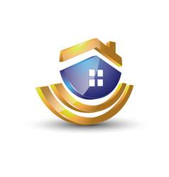 house modern 3d logo vector image