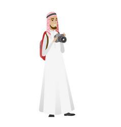 muslim nature photographer with digital camera vector image