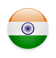 Round icon with flag of India vector image vector image