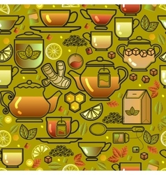 Seamless pattern with tea cup pot lemon and leaf vector image vector image