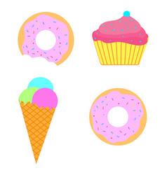 sweet set ice-cream donut cupcake vector image vector image