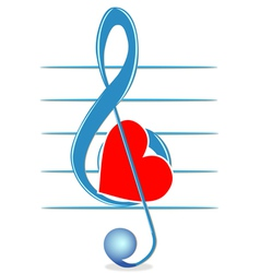 Treble clef and heart vector image vector image