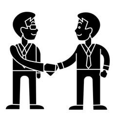 businessmen handshake - partnership icon vector image