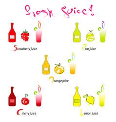 fresh juice - hand drawn fruits vector image