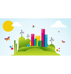 Green city spring time concept vector image vector image