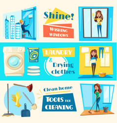house cleaning service flat banners set vector image vector image