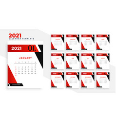 2021 new year calendar template design in vector